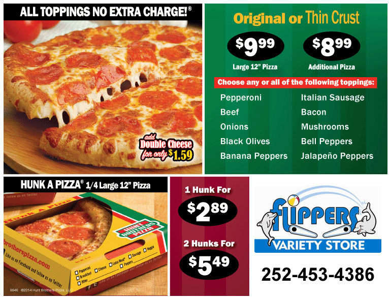 Hunt Brothers Pizza Menu
