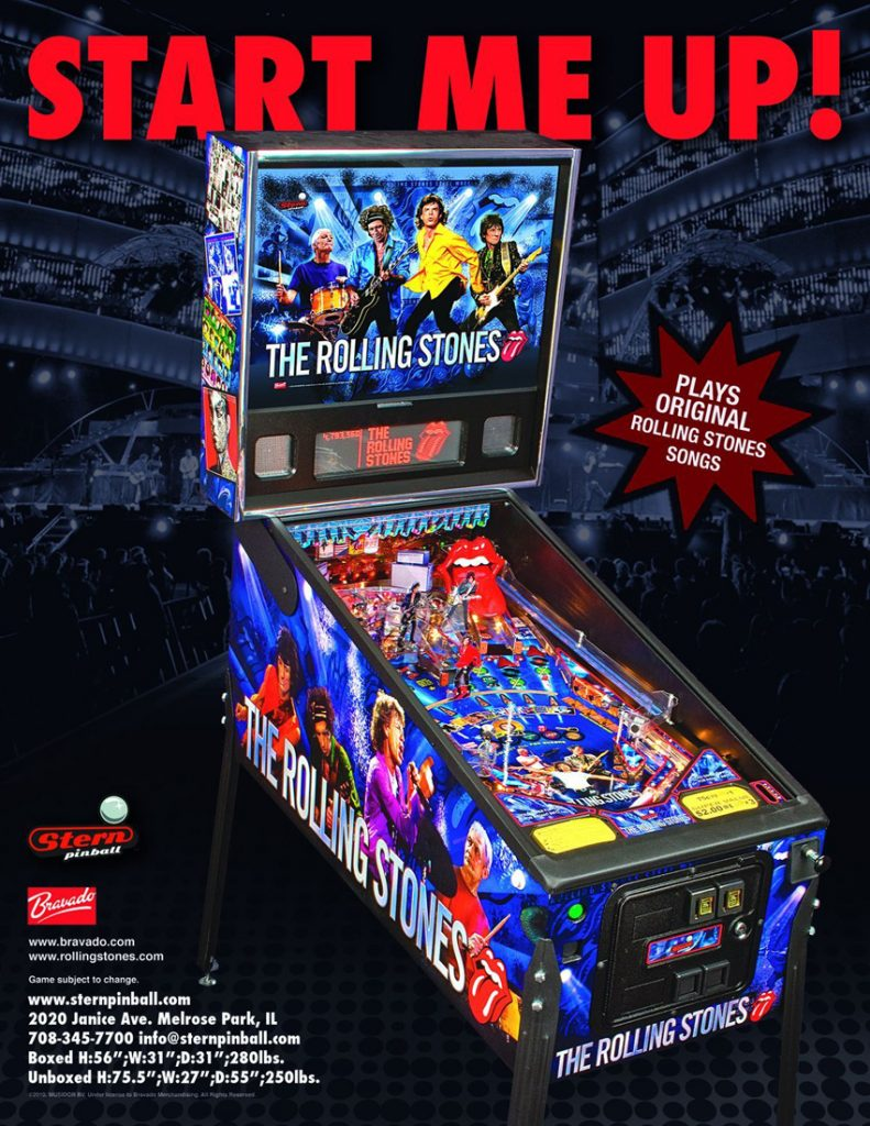 Rolling Stones Pinball Machine playing at Flippers Arcade in Grandy NC
