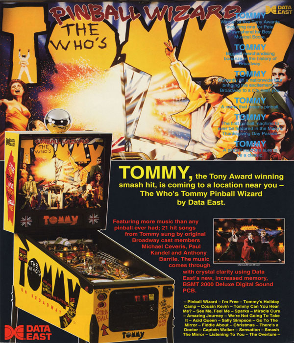 Tommy Pinball Games at Flippers Aracade