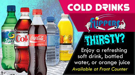 Cold Drinks at Flippers Arcade
